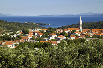 Village Selca above the sea on island Brac in croatia