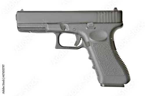 Leinwanddruck Bild side view of handgun on pure white background