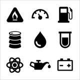 Gasoline Diesel Fuel Service Station Icons Set. Vector