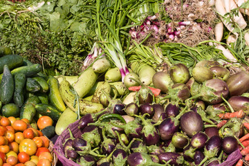 Many different ecological vegetables on market in India