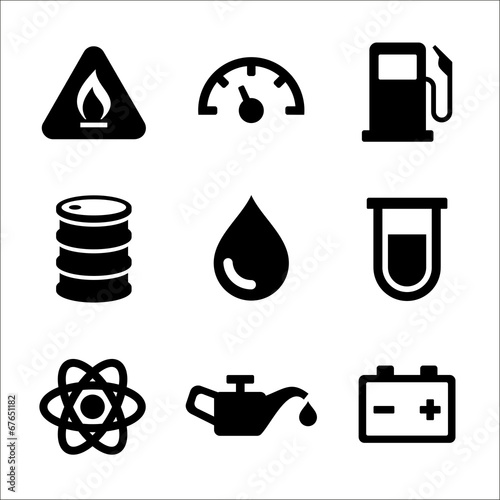 Gasoline Diesel Fuel Service Station Icons Set. Vector - 67651182