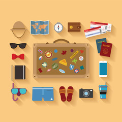 Vector modern flat style icons set for tourism industry.