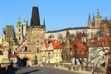 Prague Castle with St. Nicholas' Cathedral from Charles Bridge