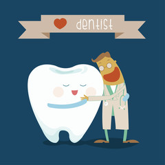 Dentist and tooth hug each other