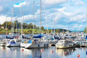 LAPPENRANTA, FINLAND - SEPTEMBER 22 - yachts docked at the pier