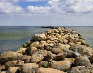 Stone breakwater.