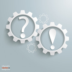 2 Bulbs Gears Question Exclamation Marks Infographic