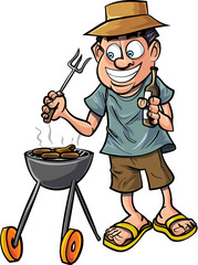 Cartoon man having a barbecue