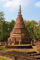 Old and ruin pagoda in Kamphaeng Phet Historical Park,Thailand