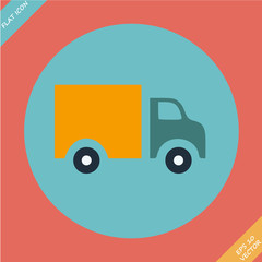 Truck Icon - vector illustration. Flat design