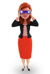 Young Corporate lady with binocular