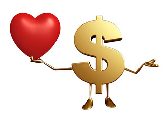 Dollar Character with heart