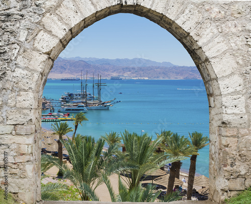 View on central beach in Eilat - famous resort in Israel - 67653117