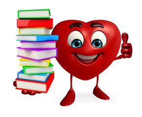 Heart Shape character with books pile