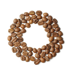 Letter O arranged from coffee beans isolated