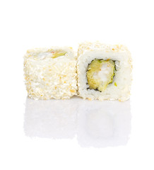Sushi with coconut shavings isolated