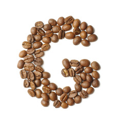 Letter G arranged from coffee beans isolated