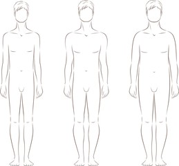 Vector illustration of male silhouette. Body types