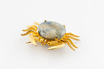 Old Crab Shape Gold and Marble Brooch