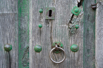 Old lock and wooden door