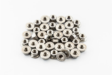 Pile of Stainless Steel Hex Flange Nuts