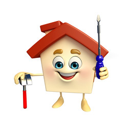 House character with hammer and screw driver