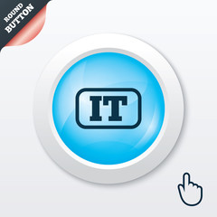 Italian language sign icon. IT Italy translation