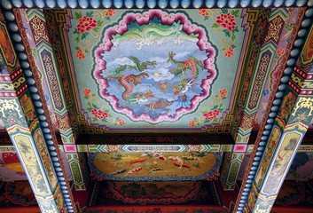 Richly Decorated Temple Ceiling