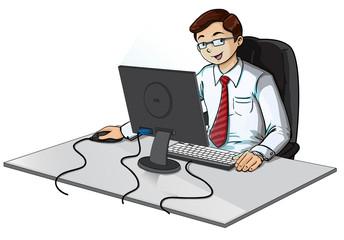 Oficinista trabajando en computadora