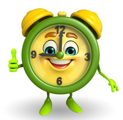 Table clock character with thumbs up