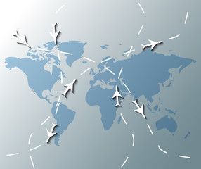Illustration of world map with airplanes