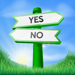 Yes or no sign concept