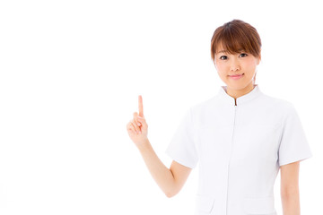 young asian nurse on white background