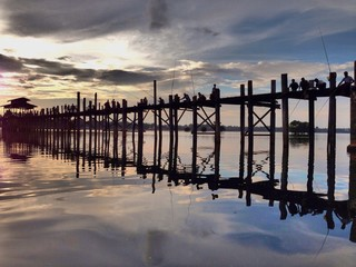 Sunset at U-Bein bridge, Myanmar.