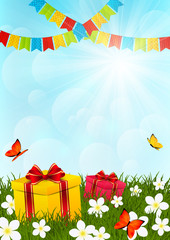 Birthday gifts on sunny meadow