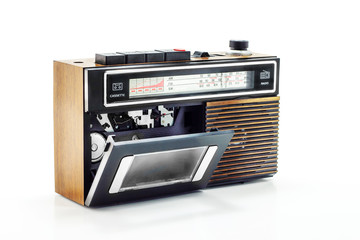 Retro radio and cassette player on table