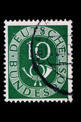 Posthorn_Briefmarke_Deutschland_Grün