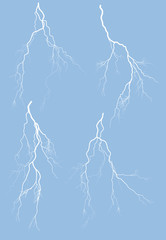 collection of four white isolated lightnings