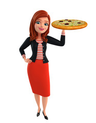 Young Corporate lady with pizza