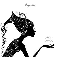 Zodiac sign aquarius. fashion girl