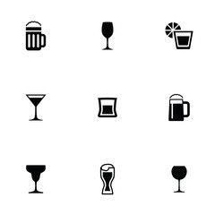 alcohol 9 icons set.