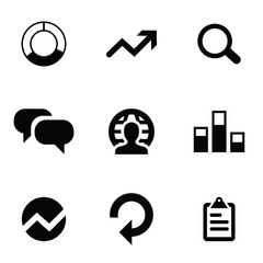 analytics 9 icons set