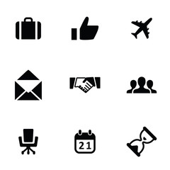 business 9 icons set