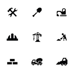 construction 9 icons set