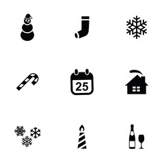 christmas 9 icons set.
