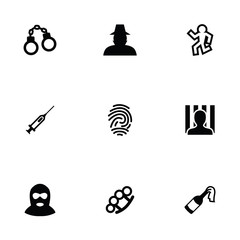 crime 9 icons set