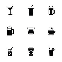 drinks 9 icons set