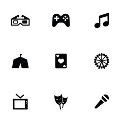 entertainment 9 icons set