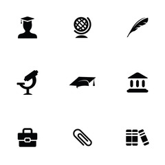 education 9 icons set