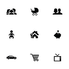 family 9 icons set